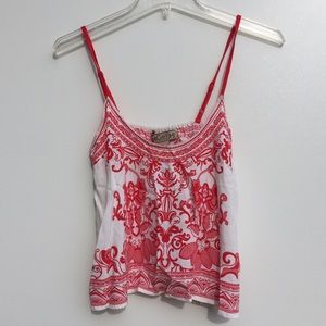 Flying Tomato Flowy Boho Top Red White Small